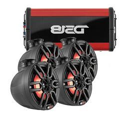 "2 Pair of 6"" Tower Pod Speakers + 600W 4ch. Amplifier Marine"