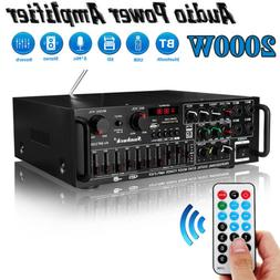 2000W 2Channel EQ Bluetooth Home Stereo Power Amplifier Audi