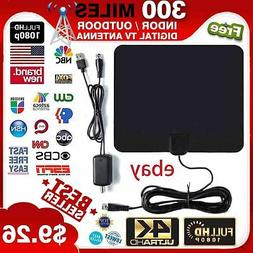 300 Miles Outdoor Flat HD Amplified TV Antenna with Amplifie