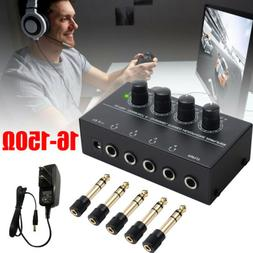 4-Channel Stereo Headphone Amplifier with 5pcs 1/4'' to 3.5m