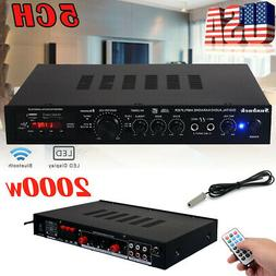 5Channel 2000W 110V Bluetooth Home Stereo Power Amplifier Am