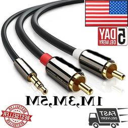 Audio Cable 2 RCA to 3.5 Audio Car Cable for Amplifier Phone