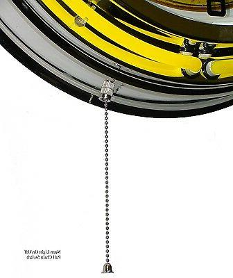 """18"""" & Amplifiers Double Neon Wall Clock Yellow Chrome"""