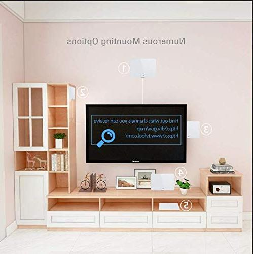 1byone Upgraded 2019 Amplified Indoor Antenna, Booster VHF Freeview HDTV Channels, 20ft Cable