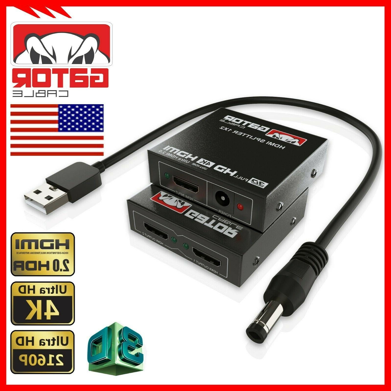 4K HDMI Repeater Splitter HUB Box In Out 1x2