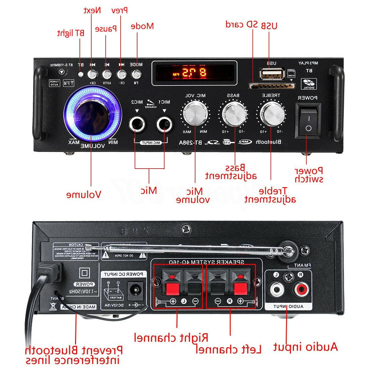 600W Stereo LCD Amplifier Home USB