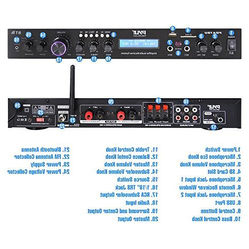 Pyle Upgraded Rack Mount Bluetooth Receiver, Home Theater Amplifier, MP3/USB/SD/AUX/FM w/ Display