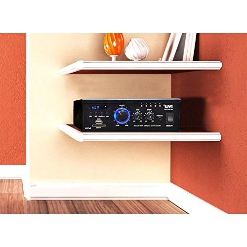 Home Audio Power Amplifier System - 2x75W Channel Power Stereo Receiver Surround w/ RCA, LED, Remote, 12V - Speaker, iPhone - Pyle PCAU35A