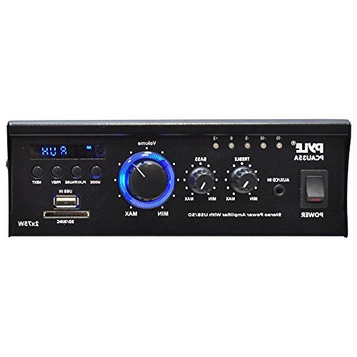 Home Audio Power System 2x75W Channel Theater Power Stereo Receiver Box, w/ RCA, AUX, LED, Remote, 12V Adapter - For -
