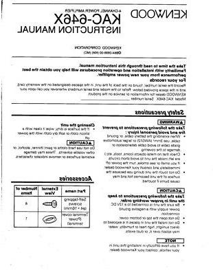 kenwood kac 646 x amplifier owners instruction