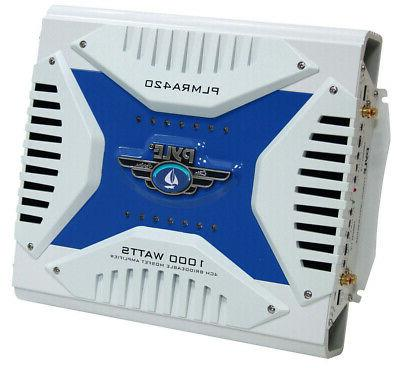 Pyle - Upgraded 1000 Watt Channel Bridgeable Amp Configurable, Waterproof, MOSFET GAIN Level Controls and RCA Stereo