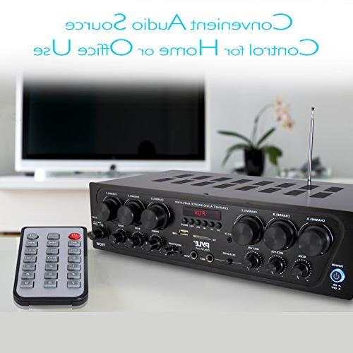 Bluetooth Home Amplifier System Upgraded 6 Channel Wireless Home Power Stereo USB, Micro SD, 2 w/ Echo, Talkover for - Pyle