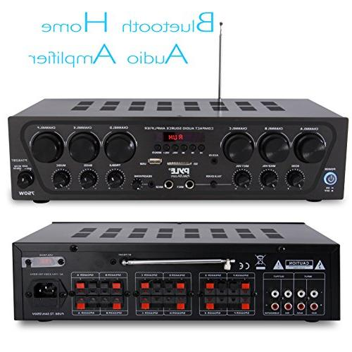Bluetooth Home Audio Amplifier System 6 Channel Wireless Power Stereo USB, 2 Microphone Echo, Talkover - Pyle