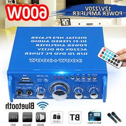Mini 600W Amplifier HIFI Audio Stereo bluetooth Radio 2CH SD