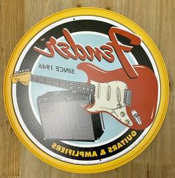 New Fender Guitars & Amplifiers Round Tin Metal Sign NR!! Vi