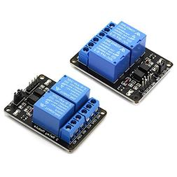 DZS Elec 2pcs 2 Channel Relay Module With Optocoupler 5V Act