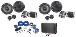 "2 Pairs Rockville RV65.2C 6.5"" Component Car Speakers+4-Chan"