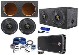 "Rockville W12K9D4 12"" 8000w Subwoofers+Sealed Sub Box+Mono"